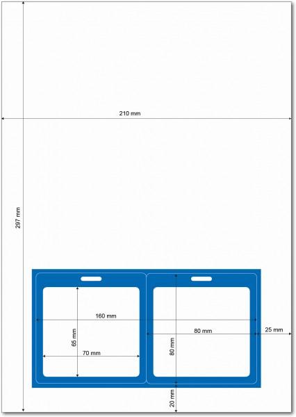 Gather 2 x ITP Zugangsausweis - Briefbogen mit Integrierter Karte 80x80mm Blau