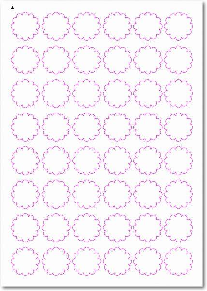 Etiketten im Sonderformat, Blumenetiketten zum selbergestalten und ausdrucken, 30x30 mm, DIN A4, blanko, weiss, matt, permanent klebend - SE70-33060