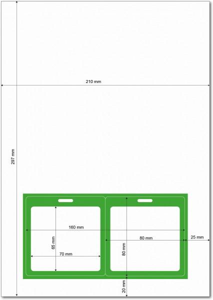 Gather 2 x ITP Zugangsausweis - Briefbogen mit Integrierter Karte 80x80mm Hellgrün