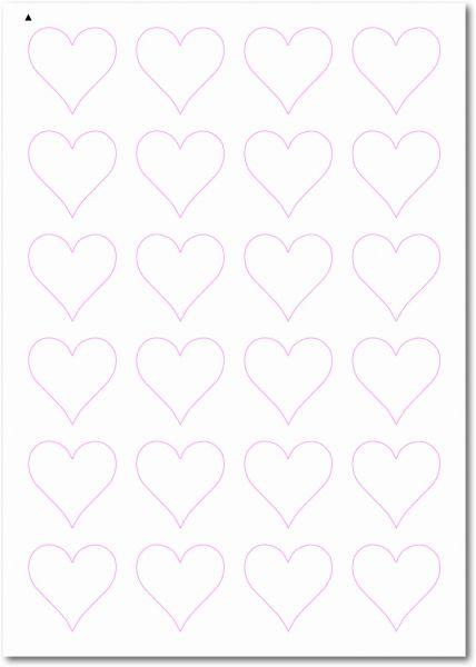 Etiketten Sonderform / Sonderformat, Etiketten Herzform zum selbergestalten und ausdrucken, 40x40 mm, DIN A4, blanko, weiss, matt, permanent klebend - SE70-32020