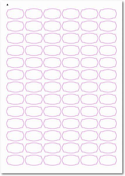 Etiketten im Sonderformat, Etiketten oval Ecken gerundet zum selbergestalten und ausdrucken, 30x18 mm, DIN A4, blanko, weiss, matt, permanent klebend - SE70-31030