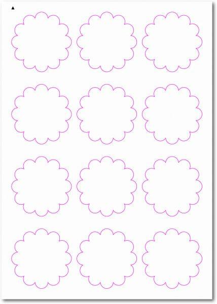 Etiketten im Sonderformat, Blumenetiketten zum selbergestalten und ausdrucken, 60x60 mm, DIN A4, blanko, weiss, matt, permanent klebend - SE70-33030
