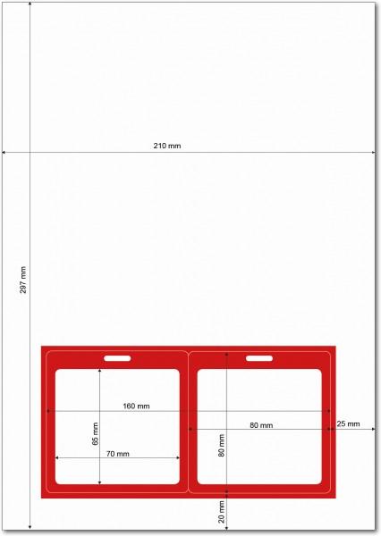 Gather 2 x ITP Zugangsausweis - Briefbogen mit Integrierter Karte 80x80mm Rot