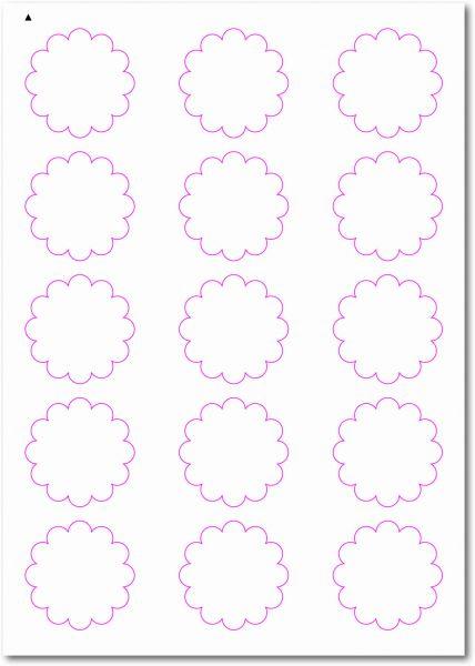 Etiketten im Sonderformat, Blumenetiketten zum selbergestalten und ausdrucken, 50x50 mm, DIN A4, blanko, weiss, matt, permanent klebend - SE70-33040