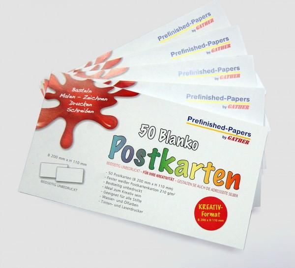 50 Blanko Postkarten ohne Linien weiss KREATIV-FORMAT - 148x105mm - zum Selbergestalten