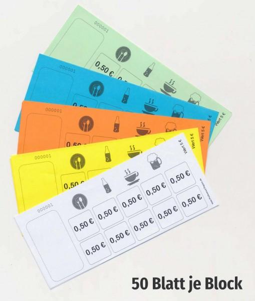 5 € Verzehrkartenblock fortlaufend nummeriert - Biermarken-/ Wertmarkenblock