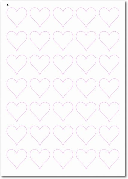 Etiketten Sonderform / Sonderformat, Etiketten Herzform zum selbergestalten und ausdrucken, 34x34 mm, DIN A4, blanko, weiss, matt, permanent klebend - SE70-32010