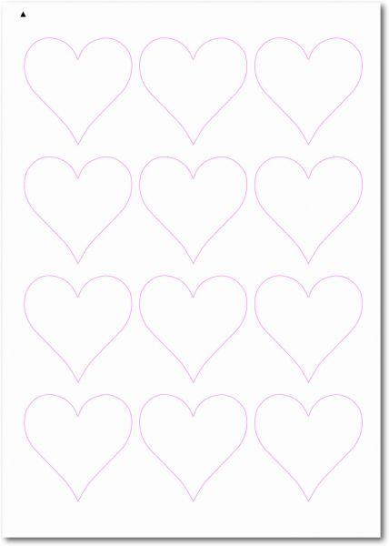 Etiketten Sonderform / Sonderformat, Etiketten Herzform zum selbergestalten und ausdrucken, 60x60 mm, DIN A4, blanko, weiss, matt, permanent klebend - SE70-32040