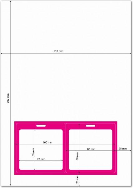 Gather 2 x ITP Zugangsausweis - Briefbogen mit Integrierter Karte 80x80mm Magenta
