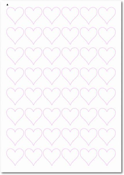 Etiketten Sonderform / Sonderformat, Etiketten Herzform zum selbergestalten und ausdrucken, 30x30 mm, DIN A4, blanko, weiss, matt, permanent klebend - SE70-32000