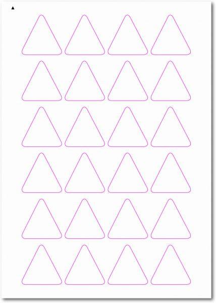 Dreieckige-Etiketten, Ecken gerundet, 40x40 mm, DIN AA, blanko, weiss, matt, permanent klebend-SE70-52050