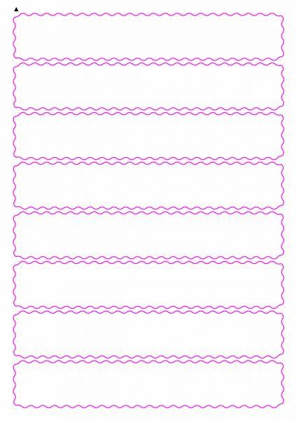 Etiketten mit gewellten Linien zum selbergestalten und ausdrucken, 190x32 mm, DIN A4, blanko, weiss, matt - Etiketten in Sonderformen / Sonderformat - SE70-04950