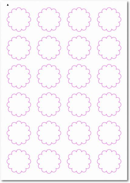 Etiketten im Sonderformat, Blumenetiketten zum selbergestalten und ausdrucken, 40x40 mm, DIN A4, blanko, weiss, matt, permanent klebend - SE70-33050