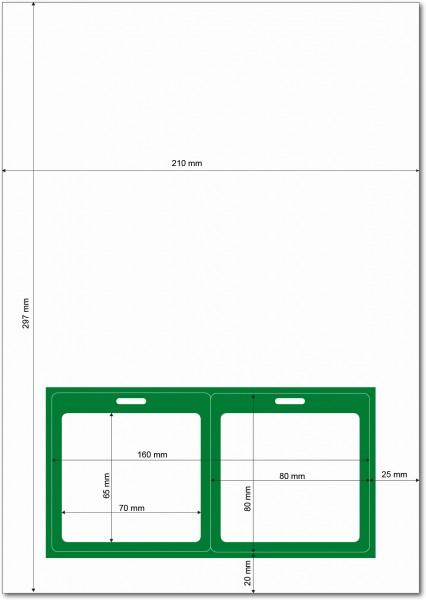 Gather 2 x ITP Zugangsausweis - Briefbogen mit Integrierter Karte 80x80mm Grün