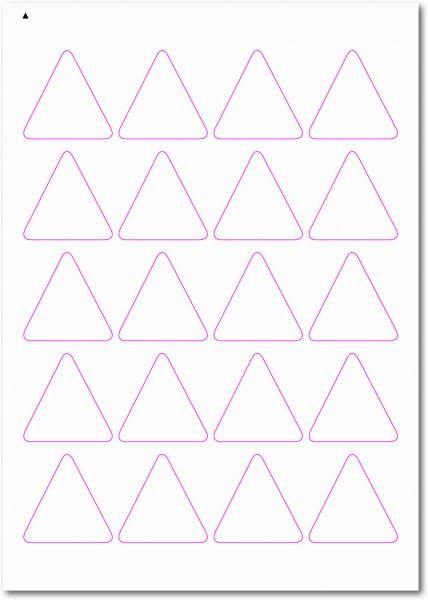 Dreieckige-Etiketten, Ecken gerundet, 45x45 mm, DIN AA, blanko, weiss, matt, permanent klebend-SE70-52060