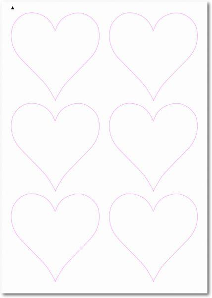 Etiketten im Sonderform / Sonderformat, Etiketten Herzform zum selbergestalten und ausdrucken, 90x90 mm, DIN A4, blanko, weiss, matt, permanent klebend - SE70-32050