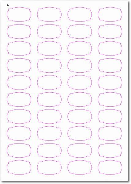 Etiketten im Sonderformat, Etiketten oval Ecken gerundet zum selbergestalten und ausdrucken, 40x24 mm, DIN A4, blanko, weiss, matt, permanent klebend - SE70-31020