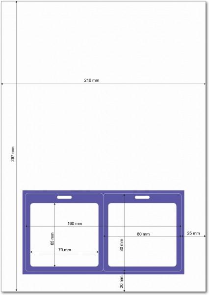 Gather 2 x ITP Zugangsausweis - Briefbogen mit Integrierter Karte 80x80mm Violett