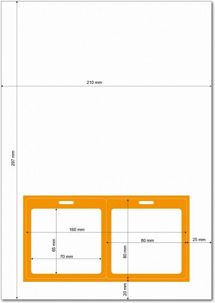 Gather 2 x ITP Zugangsausweis - Briefbogen mit Integrierter Karte 80x80mm Orange