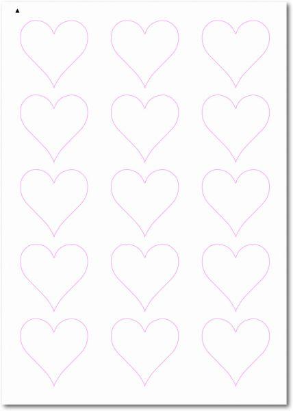 Etiketten Sonderform / Sonderformat, Etiketten Herzform zum selbergestalten und ausdrucken, 50x50 mm, DIN A4, blanko, weiss, matt, permanent klebend - SE70-32030