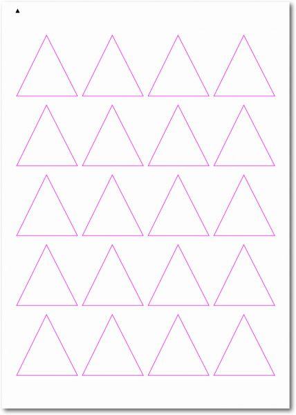 Dreieckige-Etiketten, Ecken spitz, 45x45 mm, DIN A4, blanko, weiss, matt, permanent klebend-SE70-50060