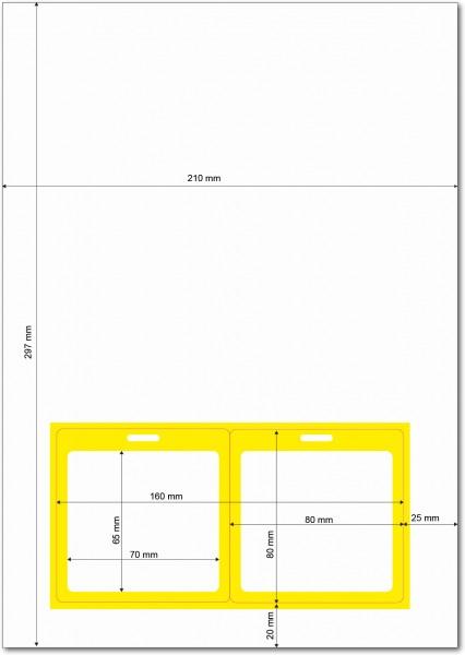 Gather 2 x ITP Zugangsausweis - Briefbogen mit Integrierter Karte 80x80mm Gelb