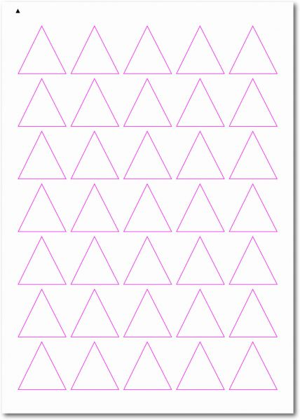 Dreieckige-Etiketten, Ecken spitz, 35x35 mm, DIN AA, blanko, weiss, matt, permanent klebend-SE70-50040
